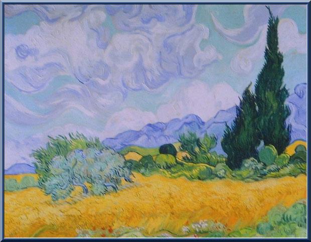 """Tableau """"Champ de blé avec cyprès"""" (1889) de Van Gogh dans le jardin du monastère de Saint Paul de Mausole à Saint Rémy de Provence (Alpilles - 13)"""