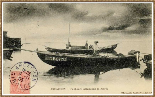 Pêcheurs de sardines attendant la marée en 1905, Bassin d'Arcachon (33)