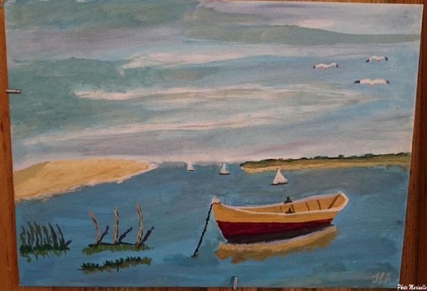 """L'Atelier à JLA - """"Pinassotte et voiliers entre Dune du Pyla et Pointe du Cap Ferret"""" - Peinture sur toile (Bassin d'Arcachon)"""