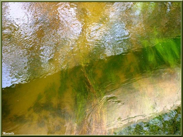 Le Canal des Landes et ses reflets sous un des ponts au Parc de la Chêneraie à Gujan-Mestras (33)