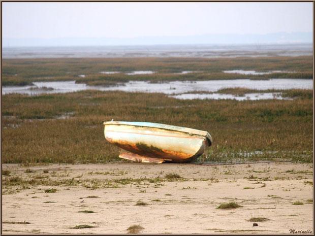 Canot à marée basse, côté plage de la jetée à Arès (Bassin d'Arcachon)