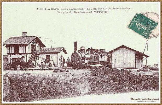 Gujan-Mestras autrefois : en 1910, la 1ère gare de La Hume, Bassin d'Arcachon (carte postale, collection privée)