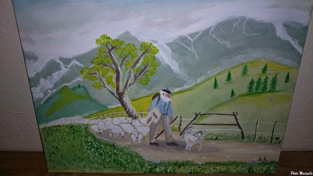 """""""Berger, son chien et son troupeau sur un sentier de montagne"""" 061 - Peinture sur toile"""