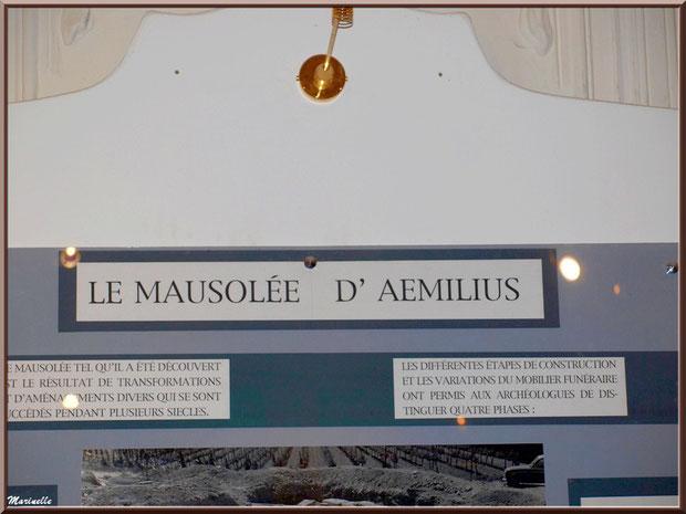 Musée Marc Deydier, village de Cucuron, Lubéron (84) : panneau du Mausolée d'Aemilius