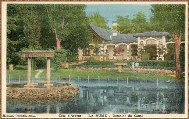 Gujan-Mestras autrefois : La Hume, la villa du Canal avec son jet d'eau au milieu du bassin, Bassin d'Arcachon (carte postale, collection privée)