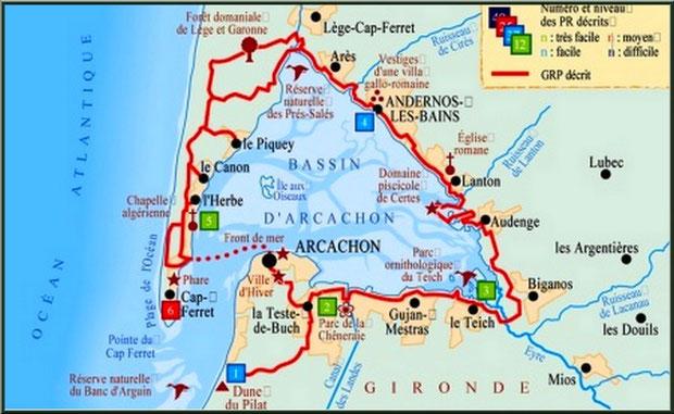 Carte des sentiers du littoral autour du Bassin d'Arcachon (33)