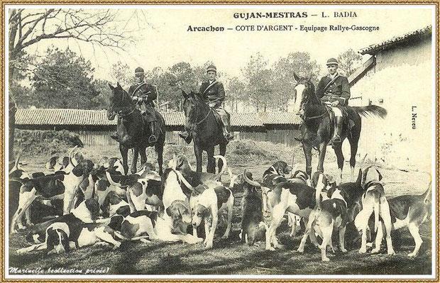 Gujan-Mestras autrefois : Chasse à courre, Bassin d'Arcachon (carte postale, collection privée)