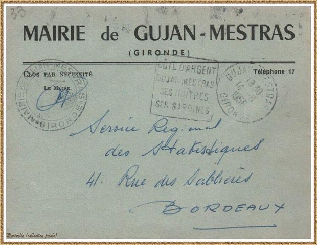 Gujan-Mestras autrefois : en 1956, une enveloppe d'un courrier adressé par la Mairie, Bassin d'Arcachon (collection privée)