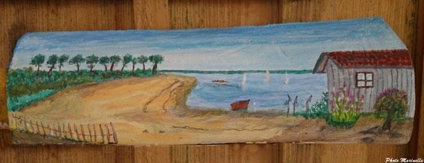 """JLA Artiste Peintre - """"Cabane en bord de mer"""" - Peinture sur tuile ostréicole (Bassin d'Arcachon)"""