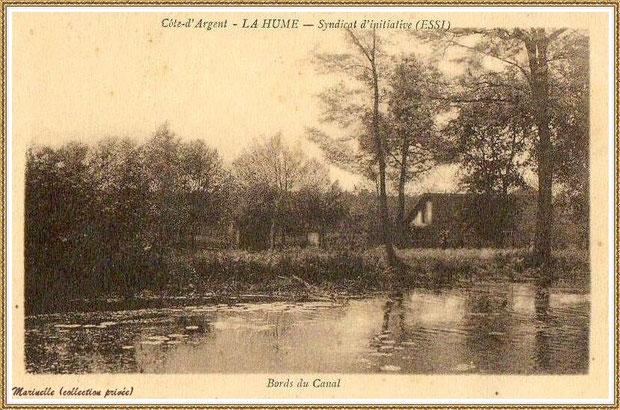 Gujan-Mestras autrefois : vers 1910, La Hume, le Canal des Landes, Bassin d'Arcachon (carte postale, collection privée)