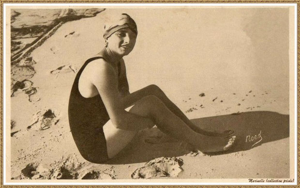 Gujan-Mestras autrefois : Baigneuse sur une plage de Gujan, Bassin d'Arcachon (carte postale, collection privée)
