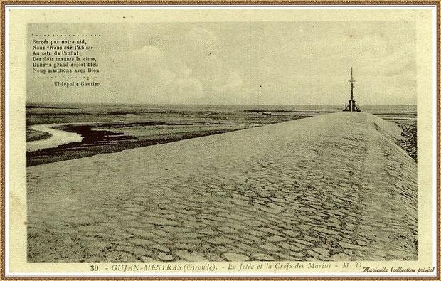 Gujan-Mestras autrefois : la Jetée du Christ au Port de Larros, Bassin d'Arcachon (carte postale, collection privée)