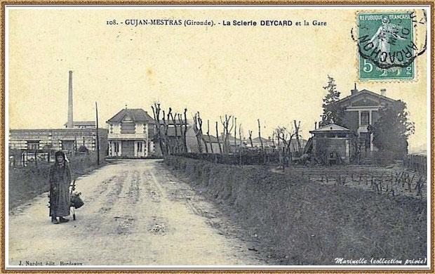 Gujan-Mestras autrefois : la Scierie Deycard avec sa cheminée (face au chemin) et la Gare (à droite), Bassin d'Arcachon (carte postale, collection privée)