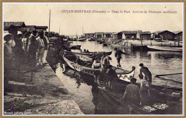 Gujan-Mestras autrefois : Arrivée de pêcheurs sardiniers au Port du Canal, Bassin d'Arcachon (carte postale, collection privée)