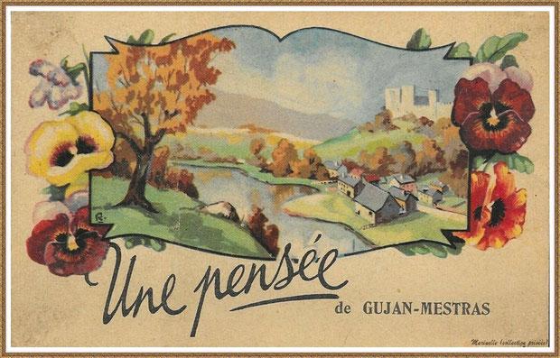 """Gujan-Mestras autrefois : Carte postale """"Une pensée de Gujan-Mestras"""", Bassin d'Arcachon (carte postale, collection privée)"""