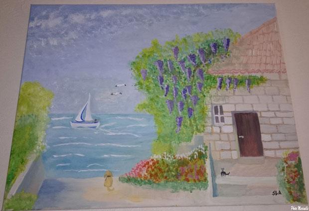"""JLA Artiste Peintre - """"Maison au bord de la mer"""" 030 - Peinture sur toile"""
