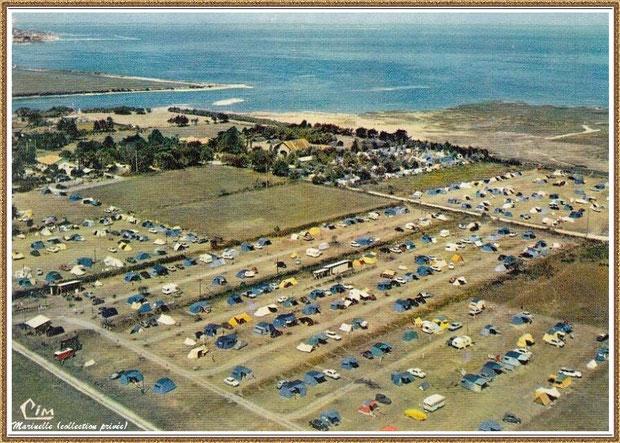 Gujan-Mestras autrefois : La Hume, le Camping Municipal à Verdale, vue aérienne, Bassin d'Arcachon (carte postale, collection privée)