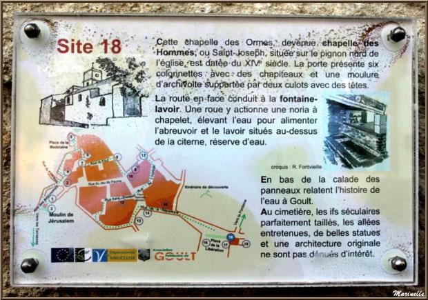 """Panneau """"Chapelle des Hommes"""" et """"Fontaine-Lavoir"""" à  Goult, Lubéron - Vaucluse (84)"""