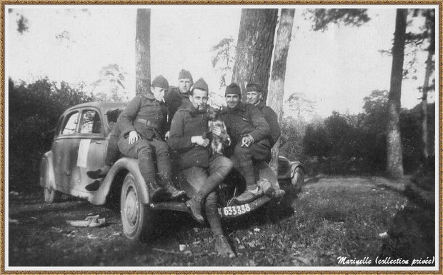 Gujan-Mestras autrefois : Soldats sur Traction Citroën vers 1940 , Bassin d'Arcachon (photo de famille, collection privée)