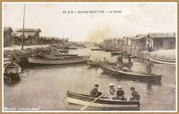 Gujan-Mestras autrefois : Port du Canal en 1927, Bassin d'Arcachon (carte postale, collection privée)
