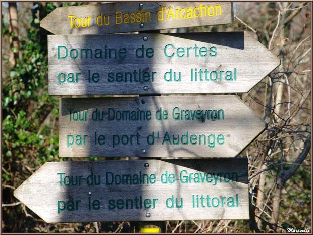 Panneaux directionnel du Sentier du Littoral, secteur Domaine de Certes et Graveyron, Bassin d'Arcachon (33)