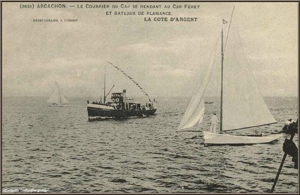 """Le """"Courrier du Cap"""", bateaux Bassin d'Arcachon autrefois, Bassin d'Arcachon (33)"""