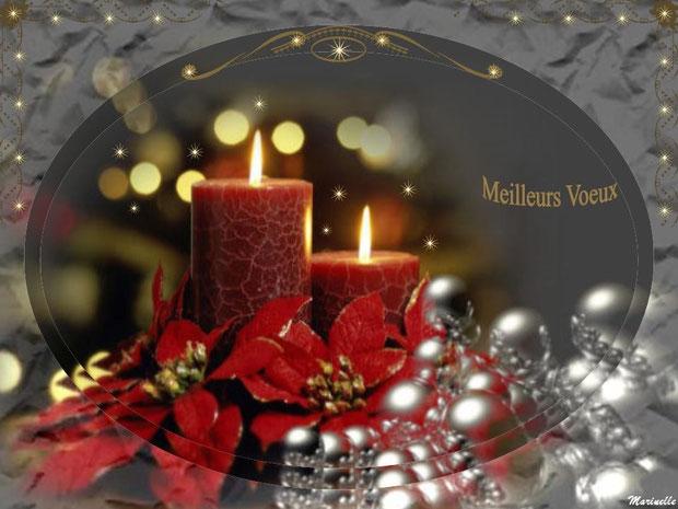 Meilleurs voeux : bougies, fleurs, perles, rouge et argent