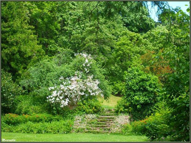 Escalier menant au Canal - Les Jardins du Kerdalo à Trédarzec, Côtes d'Armor (22)