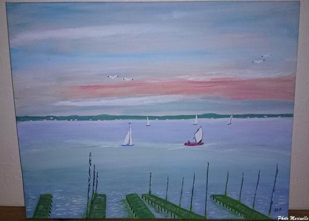 """JLA Artiste Peintre - """"Paysage du Bassin d'Arcachon : parc à huîtres, bateaux, mouettes"""" 060 - Peinture sur toile"""