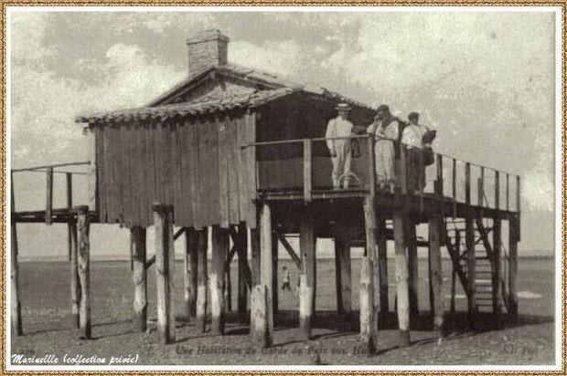 Gujan-Mestras autrefois : Maison de garde de parcs à huîtres (cabane tchanquée), Bassin d'Arcachon (carte postale, collection privée)