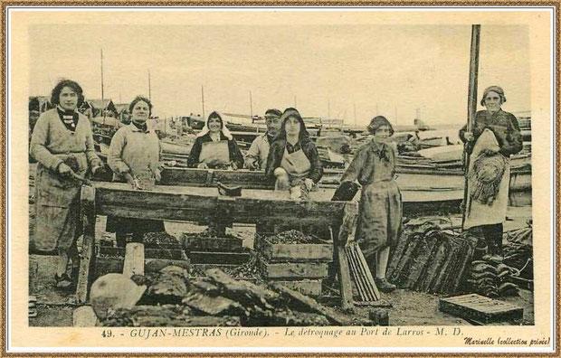 Gujan-Mestras autrefois : Ostréicultrices au détrocage des tuiles, Jetée du Christ à l'horizon, Port de Larros, Bassin d'Arcachon (carte postale, collection privée)