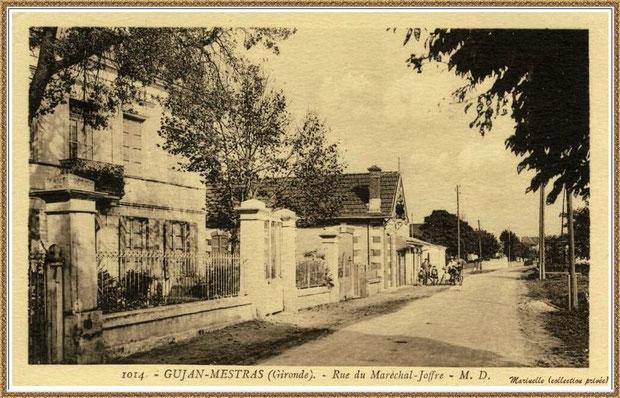 Gujan-Mestras autrefois : Rue du Maréchal Joffre, Bassin d'Arcachon (carte postale, collection privée)