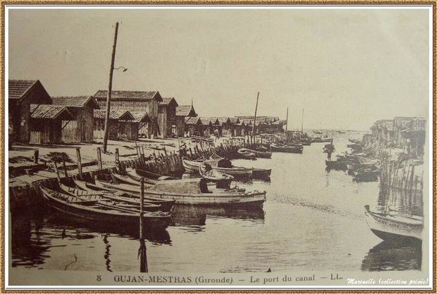Gujan-Mestras autrefois : Port du Canal en 1936, Bassin d'Arcachon (carte postale, collection privée)