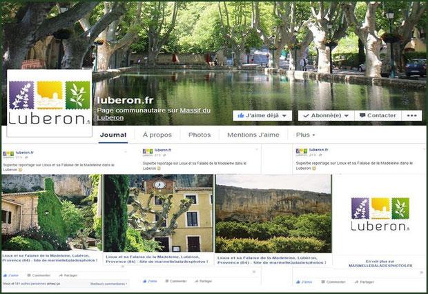 """Article consacré à """"Marinelle Balades Photos"""" sur la page Facebook de """"luberon.fr"""" au 09/10/2015"""