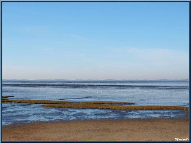 La plage hivernale et le Bassin, Sentier du Littoral, secteur Moulin de Cantarrane, Bassin d'Arcachon