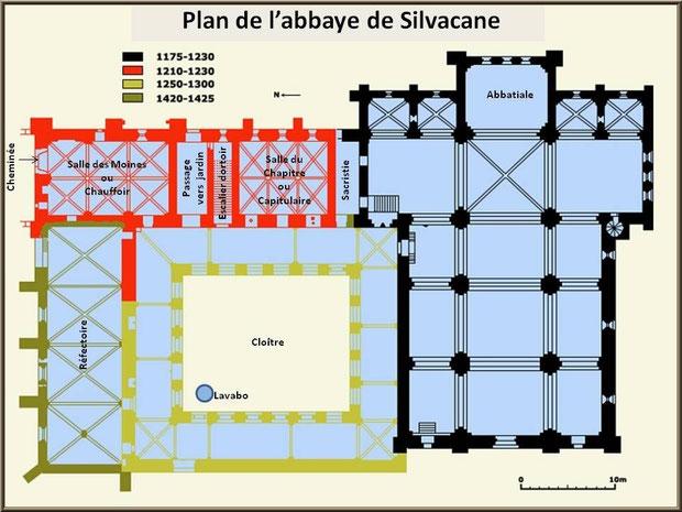 Plan de l'abbaye de Silvacane, Vallée de la Basse Durance (13)