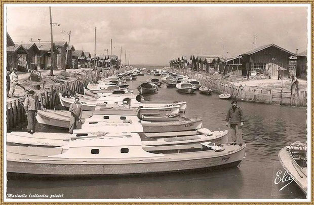 Gujan-Mestras autrefois : Port du Canal et pinasse, Bassin d'Arcachon (carte postale, version NB, collection privée)