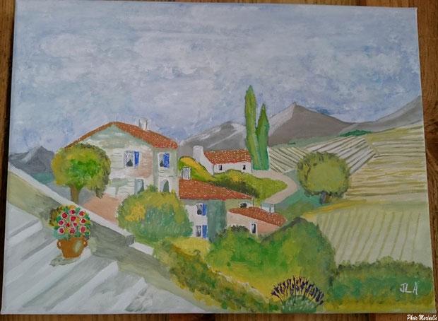 """JLA Artiste Peintre - """"Village provençal entre Mont Ventoux et Vallée de Sault"""" 041 - Peinture sur toile"""