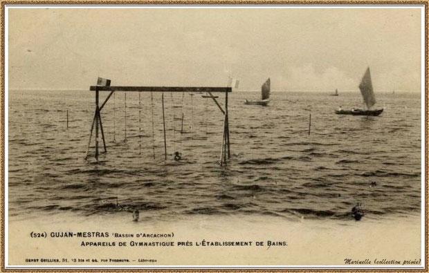 Gujan-Mestras autrefois : en 1910, appareils de gymnastique en mer de l'Etablissement de Bains au Port de Gujan (ex Port de la Passerelle), Bassin d'Arcachon (carte postale, collection privée)
