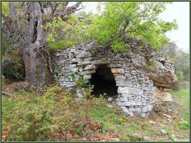 Borie en chemin vers la source miraculeuse de l'Ermitage Saint Gens, village de Le Beaucet, Lubéron (84)