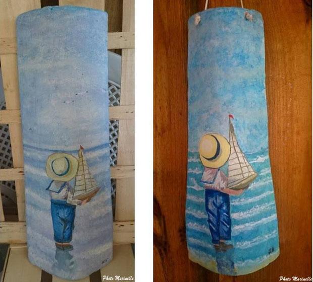 """JLA Artiste Peintre - """"Petit garçon au voilier"""" 008 et 008b - Peinture sur tuile ostréicole (Bassin d'Arcachon)"""