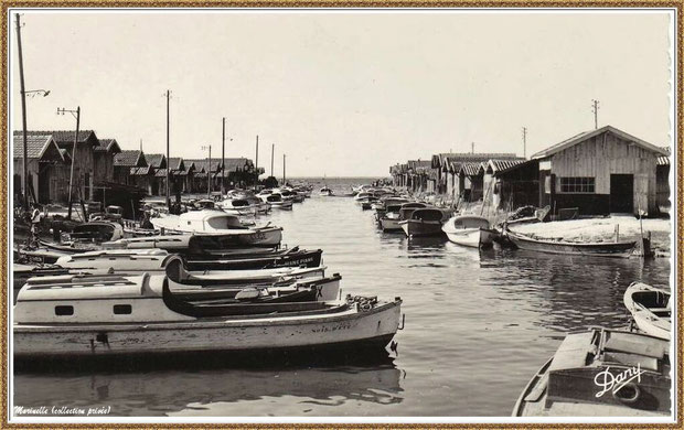 Gujan-Mestras autrefois : Port du Canal, Bassin d'Arcachon (carte postale version NB , collection privée)