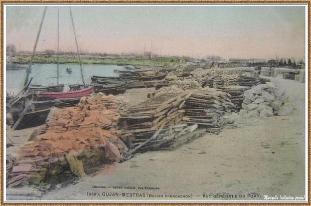 Gujan-Mestras autrefois : vers 1915, la darse principale du Port de Larros, Bassin d'Arcachon (carte postale colorisée, collection privée)