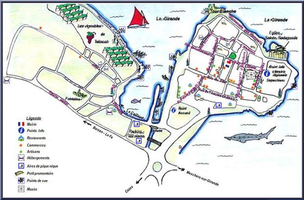 Plan du village de Talmont-sur-Gironde, Charente-Maritime