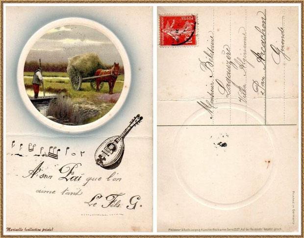 Carte envoyée en 1917 par mon oncle (adopté) Gabriel Courexou (de Saint Cyr, de son vrai nom) à son père adoptif (mon arrière grand-père) à la Villa Algérienne (Village de L'Herbe, Bassin d'Arcachon)