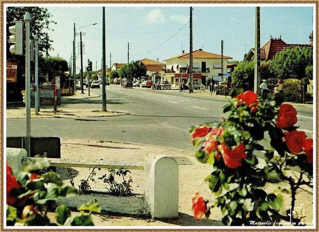 Gujan-Mestras autrefois : carrefour Avenue de Lattrre de Tassigny, Route des Lacs, Avenue de la Plage, Bassin d'Arcachon (carte postale, collection privée)