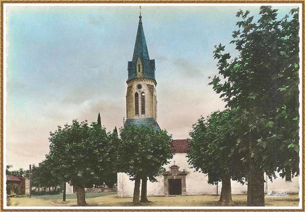 Gujan-Mestras autrefois : Eglise Saint Maurice, Bassin d'Arcachon (carte postale version colorisée, collection privée)