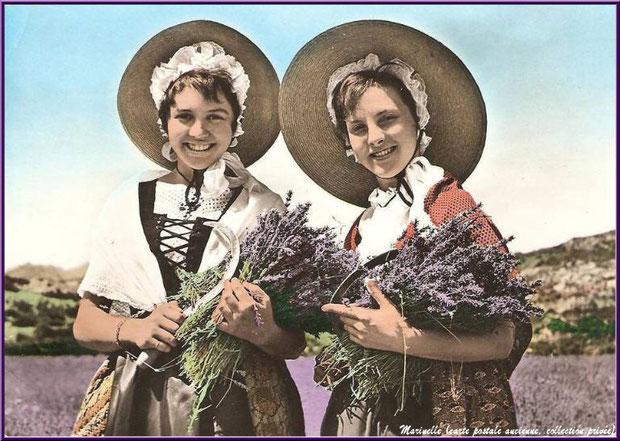 Cueilleuses de lavande (carte postale ancienne 1962, collection privée)