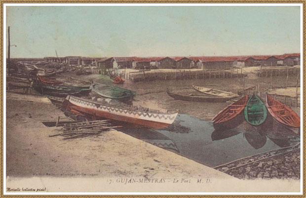 Gujan-Mestras autrefois : en 1927, le Port du Canal à marée basse, Bassin d'Arcachon (carte postale version colorisée, collection privée)