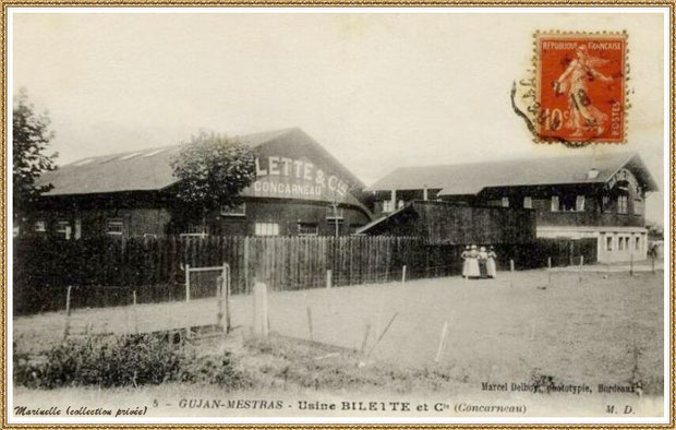 "Gujan-Mestras autrefois : en 1918, Usine-Conserverie de sardines ""Billette & Cie"" au Port du Canal, Bassin d'Arcachon (carte postale, collection privée)"